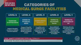 As covid-19 cases continue to increase in texas, gov. greg abbott gives an update the state's hospital capacity. austin, officials have declared ci...