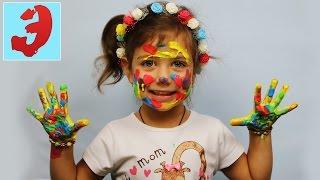 ПАЛЬЧИКОВЫЕ КРАСКИ весёлый челлендж: краски осени РИСУЕМ РУКАМИ. Challenge видео для детей