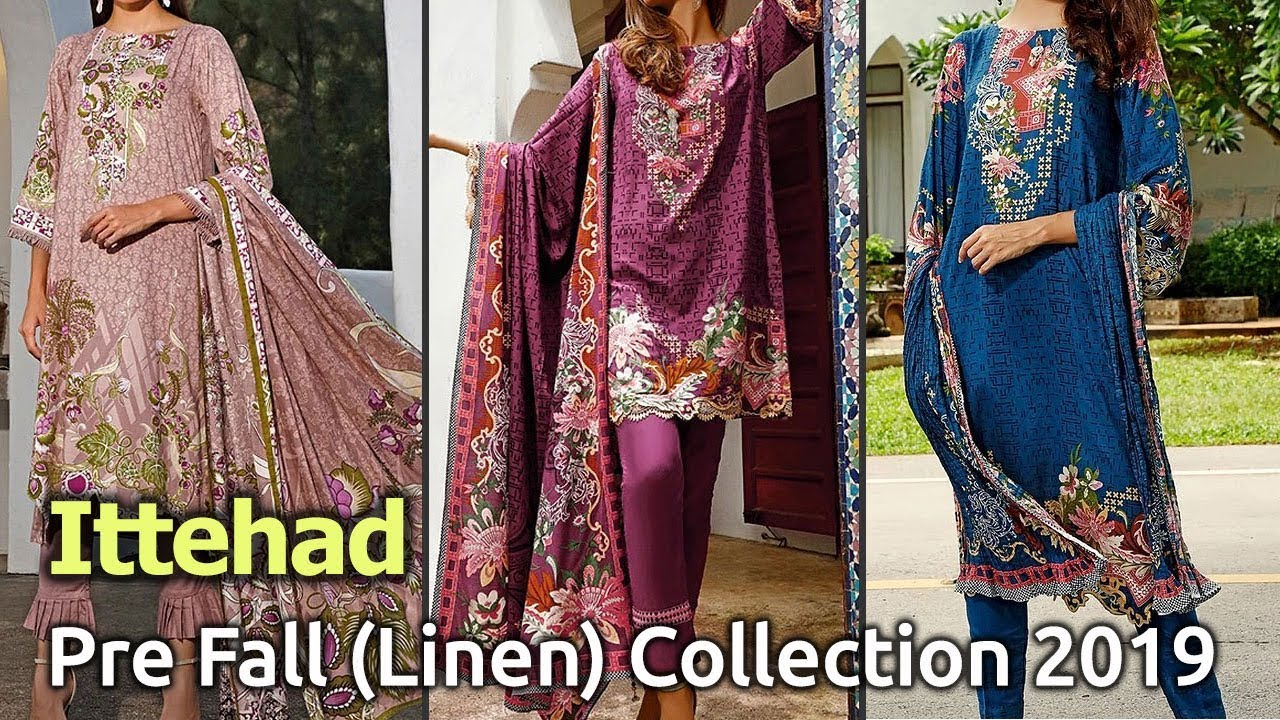 [VIDEO] - Latest ITTEHAD PRE FALL LINEN Suits Winter 2019 Collections | Linen Dresses Designs 1