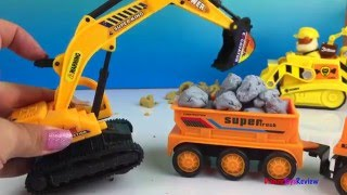 Long kids video with construction toy trucks mighty machines playdoh CAT trucks for kids & toddlers