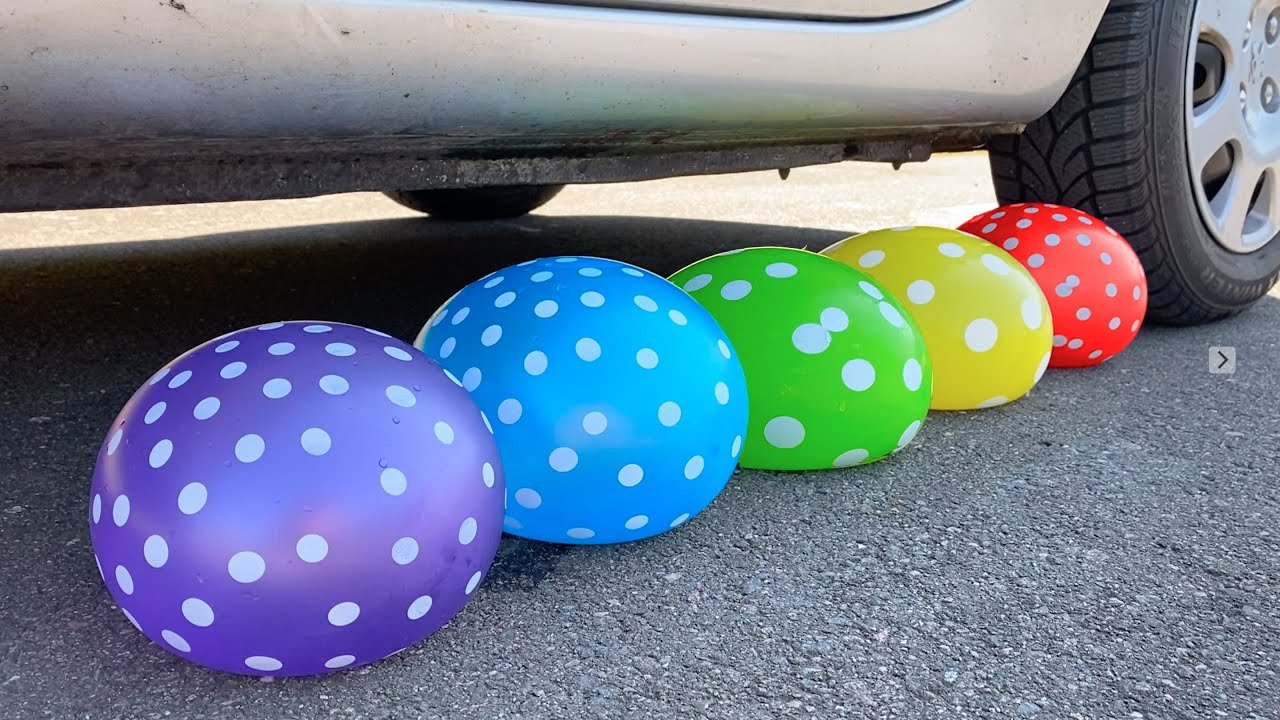 Crunchy & Soft Things by Car! EXPERIMENT: EXPERIMENT: BALLOONS VS CAR