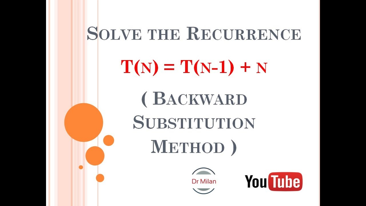Solve the Recurrence T(n) = T(n-1) + n (Backward Substitution Method)