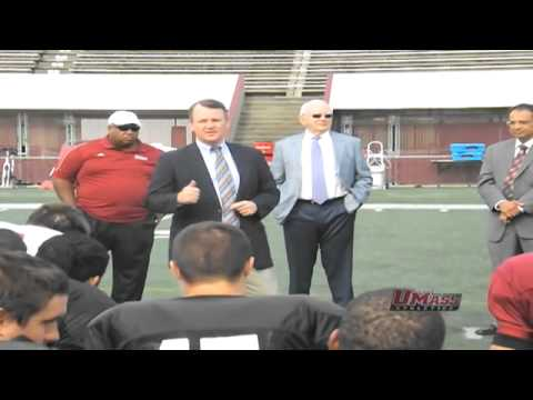 Massachusetts Lt. Governor Tim Murray Addresses The UMass Football Team During Preseason Camp