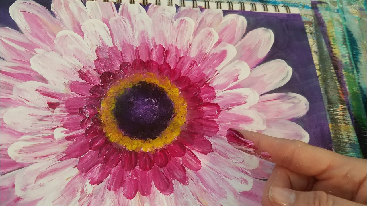 Easy Beginner Flower Finger Painting Acrylic Tutorial Live