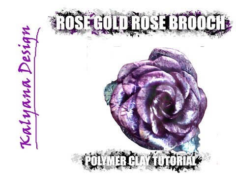 328 Polymer clay tutorial - delicate rose gold rose brooch
