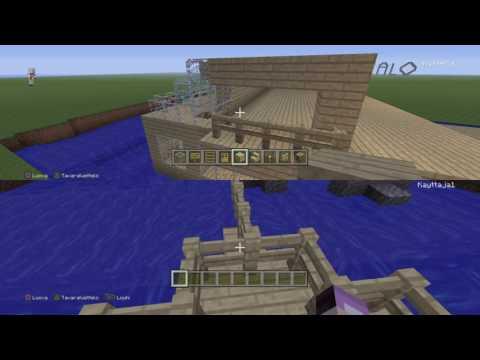 Minecraft laivan rakentelua
