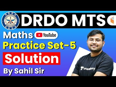 DRDO MTS 2020 | Maths By Sahil Sir | Practice Set Solution - 5