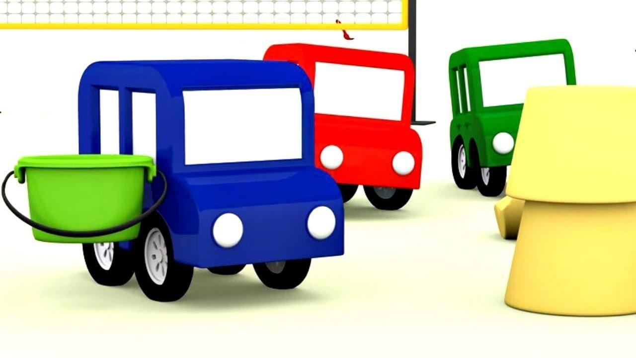 Lehrreicher Zeichentrickfilm Die 4 Kleinen Autos Sind Am Strand