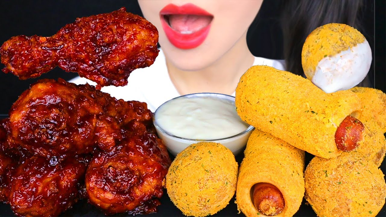 BHC SPICY CHICKEN w/ BBURIN CHEESE BALLS & CORN DOGS ASMR MUKBANG (No Talking) EATING SOUNDS