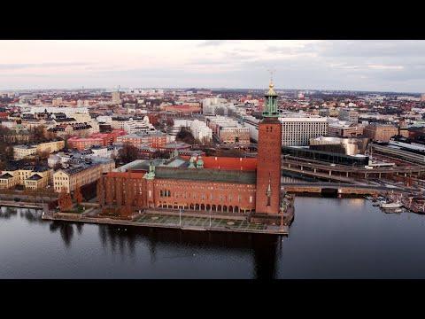 3705. Stadshuset (Stockholm City Hall) Drone Stock Footage Video