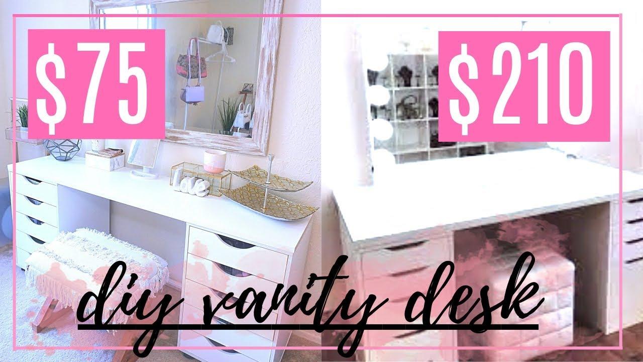 DIY IKEA VANITY DESK DUPE!! + ORGANIZATION IDEAS - YouTube