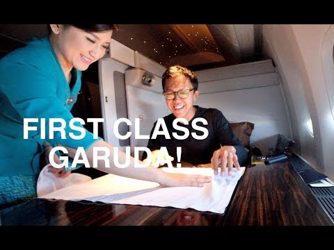 FIRST CLASS GARUDA INDONESIA JAKARTA-LONDON B777-300 REVIEW!