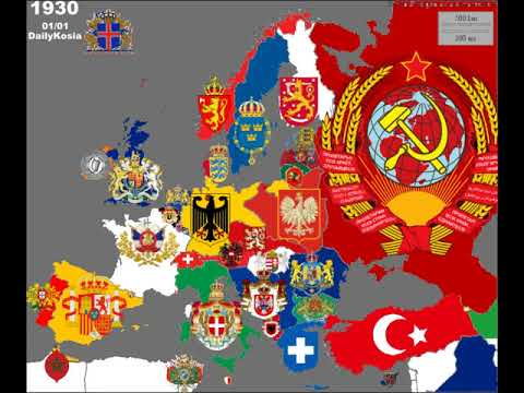 Europe national coats of arms in the last 200 years