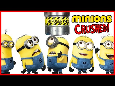 Destruction of the Minion toys in a 100 ton hydraulic press