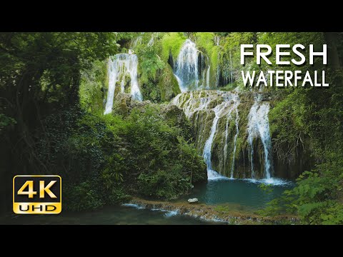 4K Fresh Waterfall - Natural White Noise Sounds - Flowing Water - 10 Hours - Relaxation/ Sleep Video