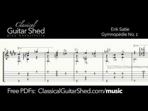 Satie: Gymnopedie No 1  - Free sheet music and TABS for classical guitar