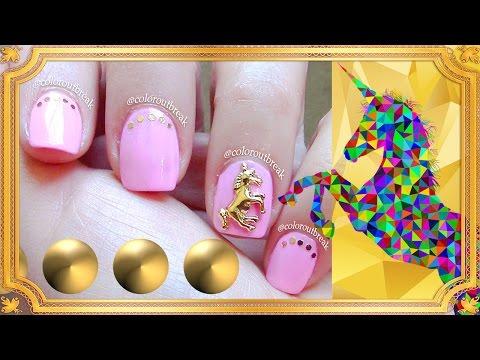☆3D Nail Art Designs- 3D Unicorn Stud, Pink Nails, Unicorn Nails, 3 Nail Art- BornPrettyStore BPS☆