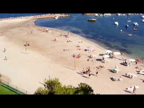 Playa den bossa beach IBIZA - a view over the harbour.
