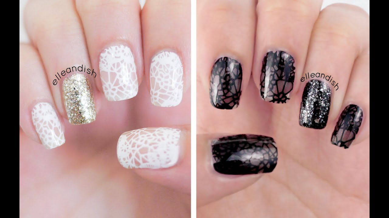 Sweet vs Sultry Lace Nails with Sally Hansen Big Smoky Top Coat ...