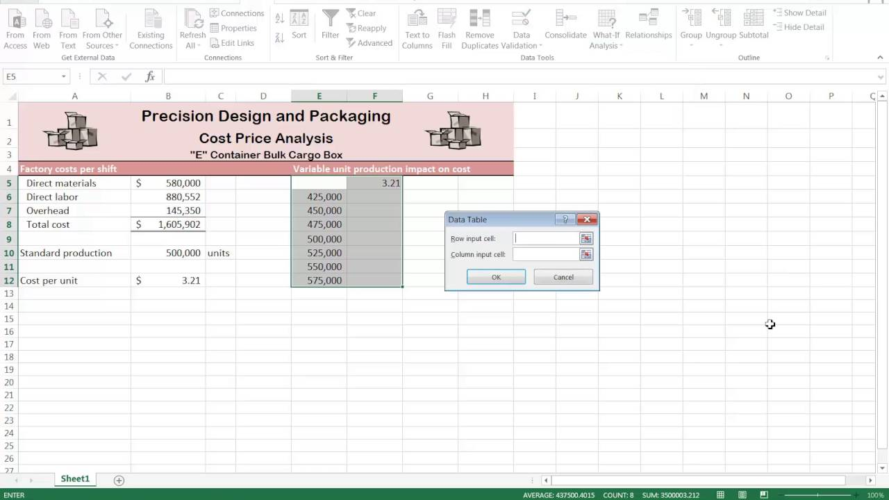 How to create data table in excel
