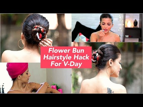 Easy Ribbon Bun Hairstyle | GRWM - Valentine's Day Hair Hacks | Date Hairstyles | Knot Me Pretty