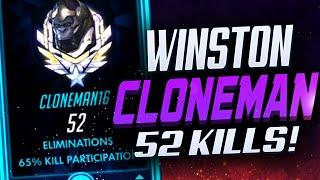 CLONEMAN16 INSANE WINSTON! 52 ELIMS! [ OVERWATCH SEASON 22 TOP 500 ]