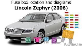 Fuse box location and diagrams: Lincoln Zephyr (2006) - YouTubeYouTube