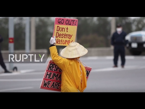Japan: Protesters demonstrate against relocation of US base