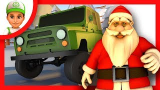 Cartoon. Handy Andy and police save Santa Claus