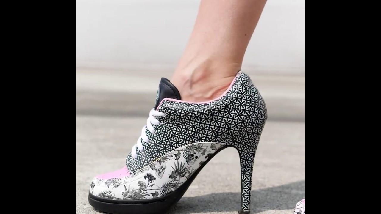 MISSY ROCKZ DEATHHEAD rose Sneaker High Heels