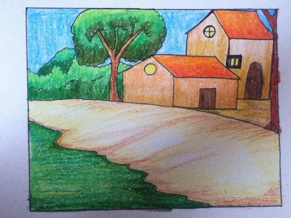 scenery drawing and coloring for kids - Drawing And Colouring Pictures For Kids
