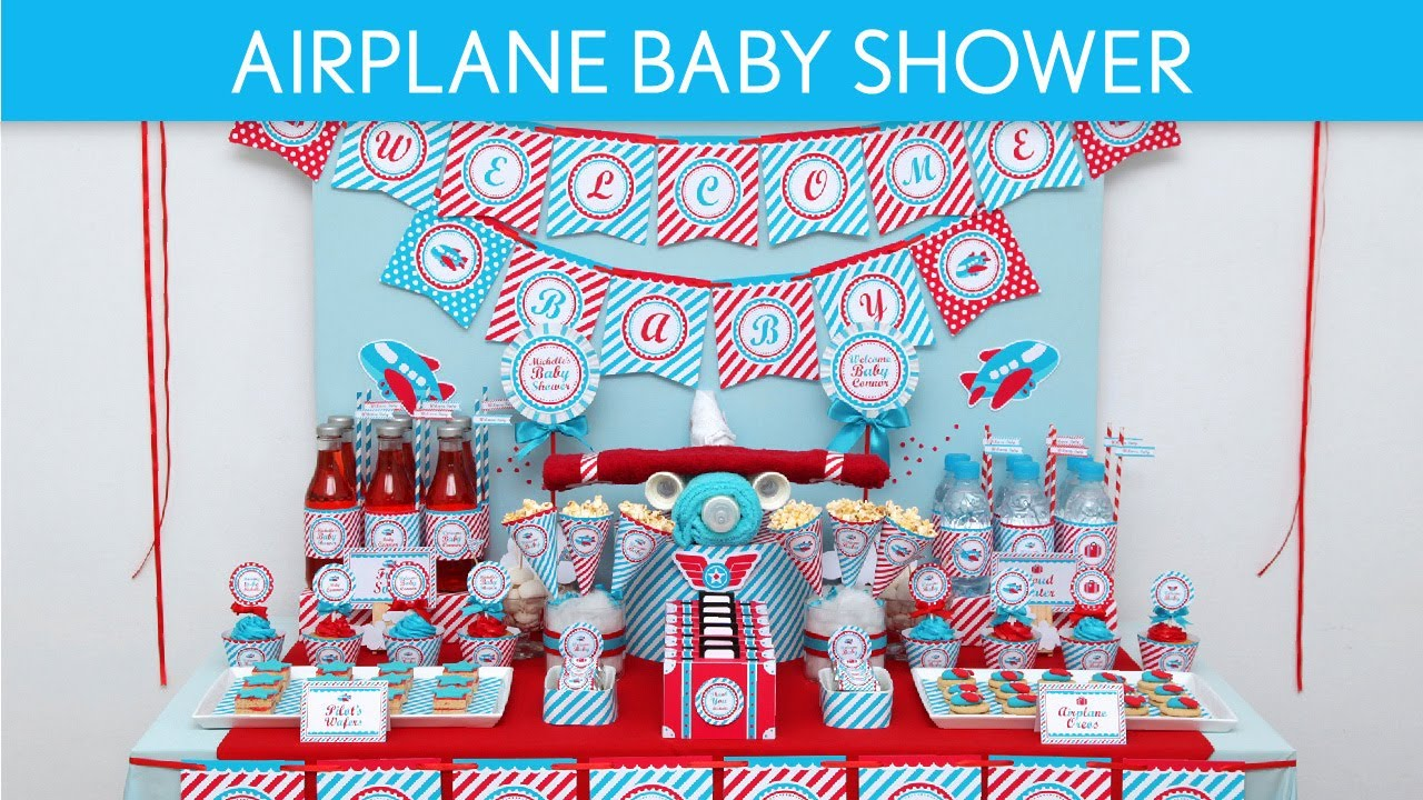 Airplane baby shower ideas airplane s1 youtube for Airplane baby shower decoration ideas