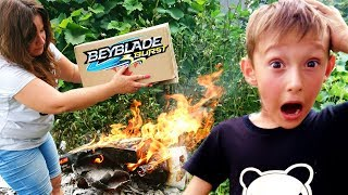 Что мама сделала с новыми бейблейд Спрайзен Легендарный и Волтраек В3 ? Видео для детей / for kids