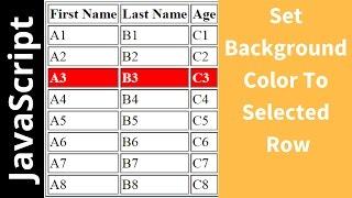 كيفية تغيير مختارة HTML صف الجدول لون الخلفية باستخدام جافا سكريبت [ مع شفرة المصدر ]