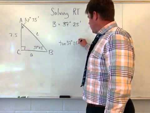 Solving a right triangle with degrees minutes angles