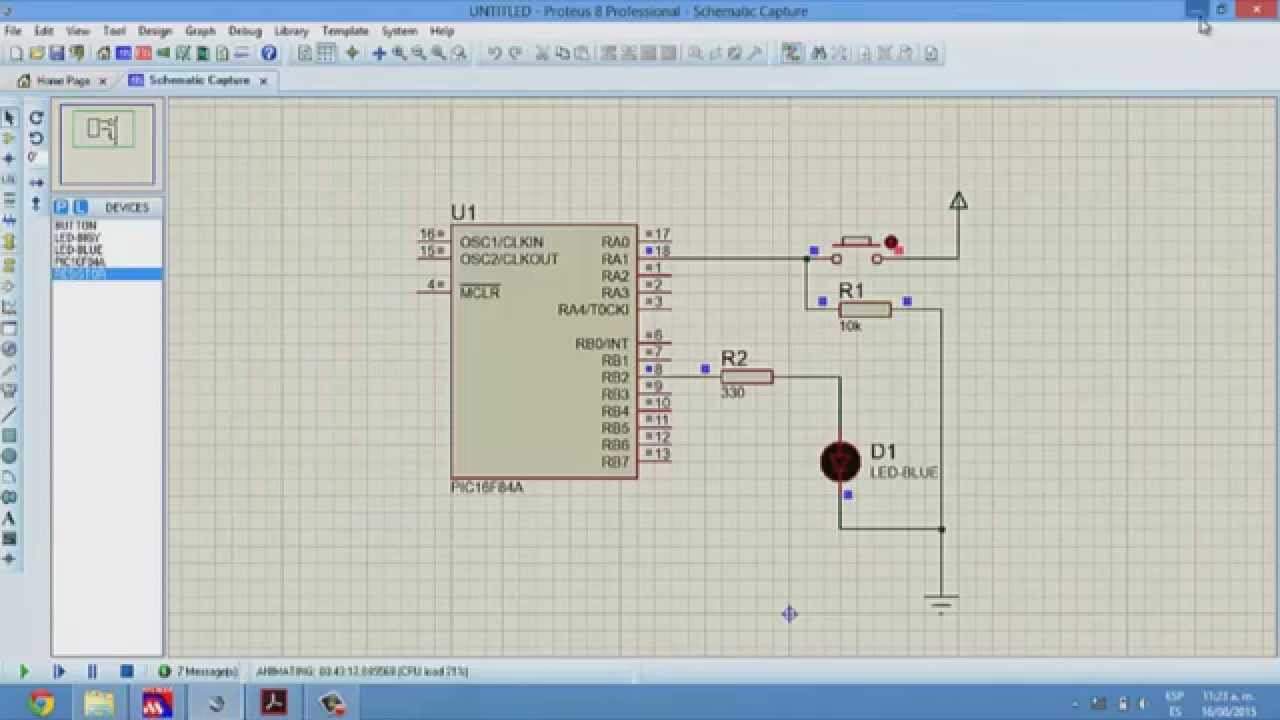 Mplab 1 encender led con boton 2 programar grabar pic 16f84a youtube