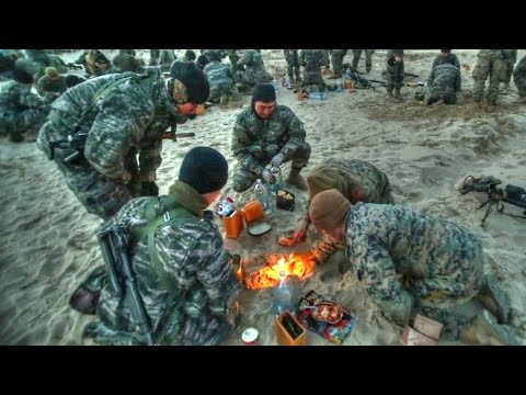 US Marines & Korean Marines Try Each Other's Field Rations