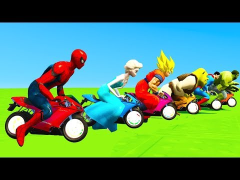 Thumbnail: LEARN COLORS CARTOON Motorcycles for Kids with Big Jump in Superheroes Children Nursery Rhyme
