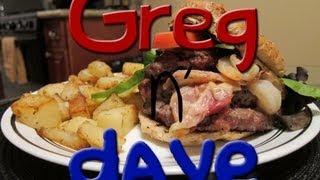 Greg N Dave Cooking Pancetta Shrimp Stuffed Burgers