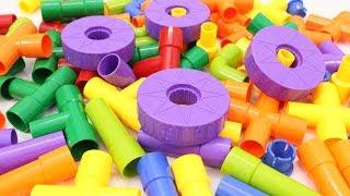 Building Blocks Toys for Children FUNTOK Pipeline Blocks with Wheels Creative Educational Toy