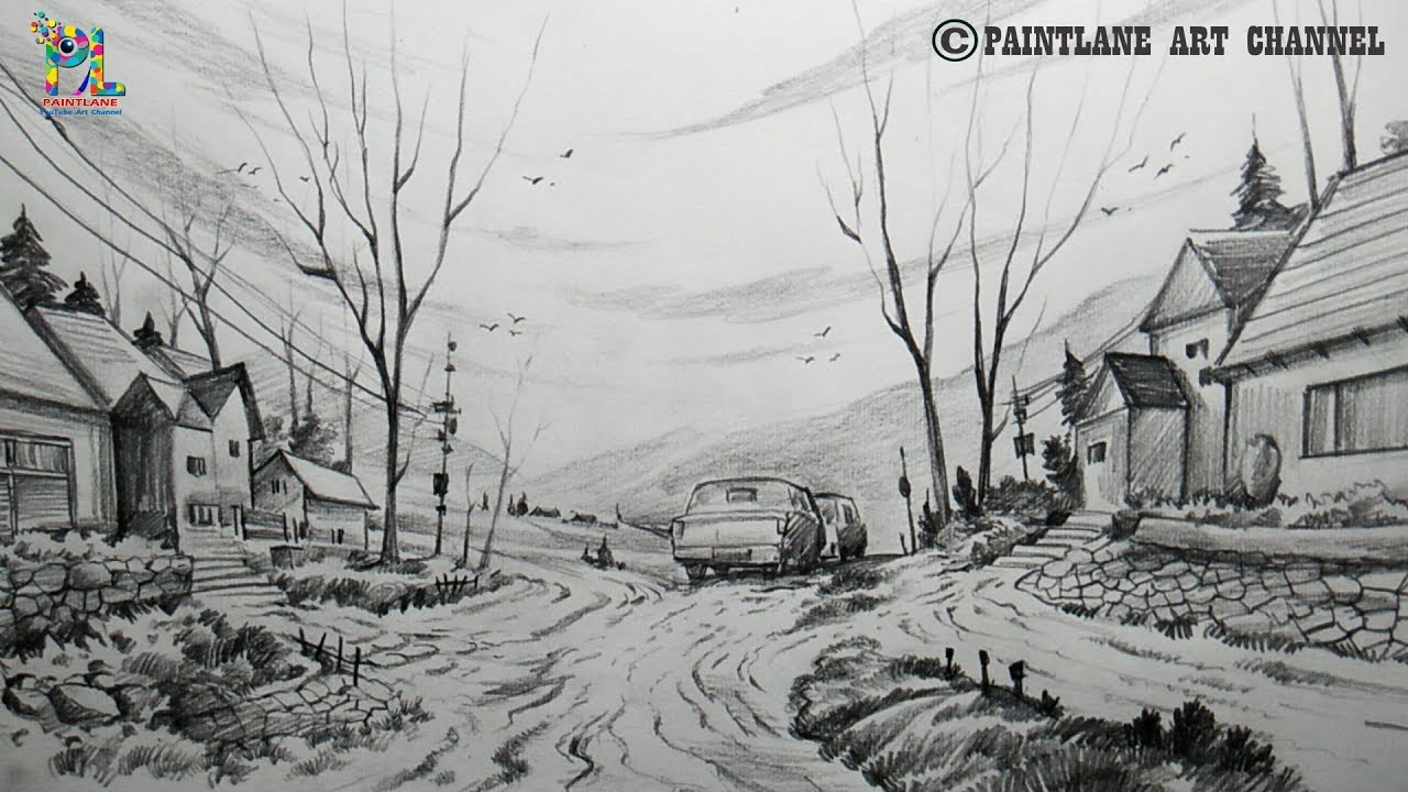 How to draw a beautiful scenery with pencil pencil shading step by step