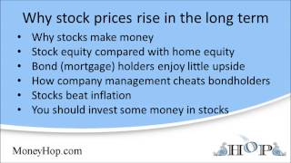 Why stocks increase in value over the long term
