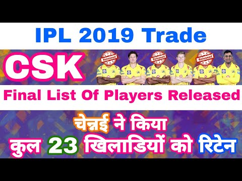 IPL 2019 - List Of 23 Players Retained & 3 Players Released By CSK Before Auction