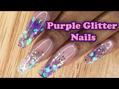 Acrylic Nails Long Purple Glitter Nails - LongHairPrettyNails