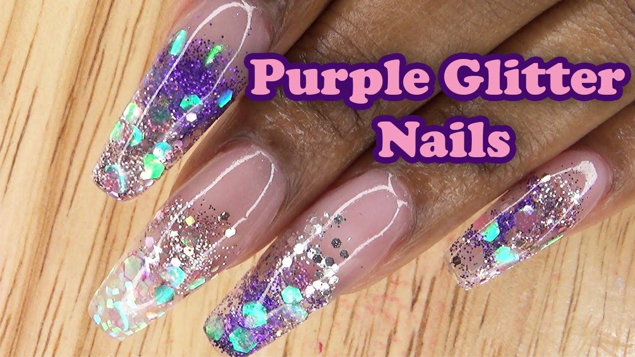 Acrylic Nails Long Purple Glitter Nails ...