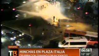 Plaza Italia fue centro de celebraciones tras victoria de Chile