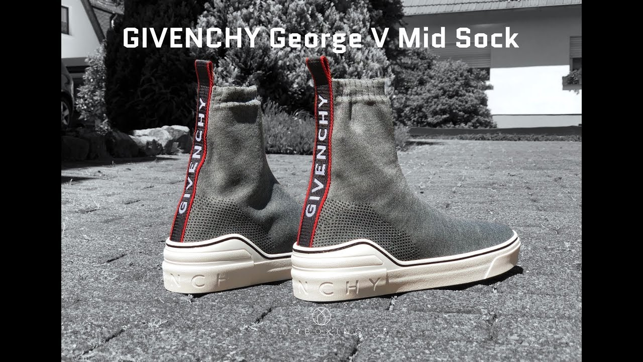 8a90f63703025 GIVENCHY George V Mid Sock Sneaker  Grey Mix