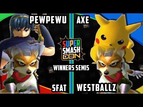 Smash Con 2017 SSBM - PewPewU & SFAT vs. Axe & Westballz - Smash Melee Doubles WS