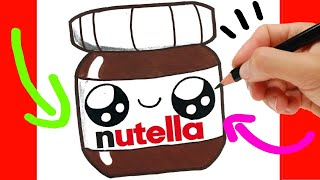 HOW TO DRAW A CUTE NUTELLA KAWAII/ cute drawings of food
