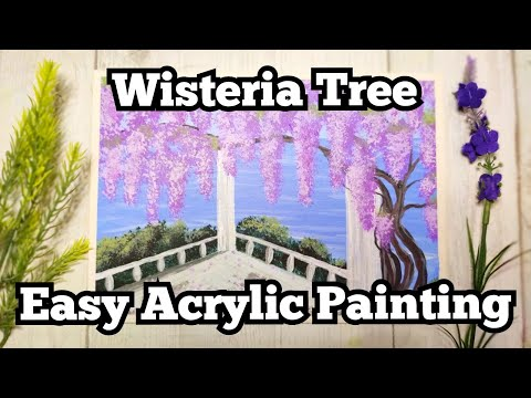 How To Paint Wisteria Tree   Easy Acrylic Painting For Beginners   Simple Flowers  Painting Tutorial